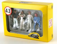 SET  4 DRIVERS FIGURES J.Clark, Fangio, Rodriguez & Siffert in 1:43 scale by Le Mans Miniatures
