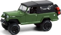 1968 Jeep Jeepster Commando with Soft Top and Off-Road Parts in Dark Green in 1:64 scale by Greenlight