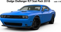 2018 Dodge Challenger R/T Scat Pack in Blue in 1:18 Scale by AUTOart