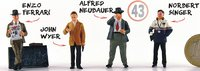 Set of 4 team managers, Enzo Ferrari, Alfred Neubauer, John Wyer et Norbert Singer in 1:43 scale by LeMans Miniatures