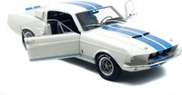 1967 Ford Mustang Shelby GT500 White with Light Blue Stripes 1/18 Diecast Model