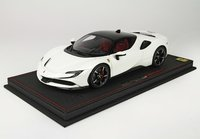Ferrari SF90 Stradale Avus white and black roof with Display Case in 1:18 scale by BBR