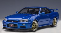 NISSAN SKYLINE GT-R (R34) V-SPEC II W/ BBS LM WHEELS (BAYSIDE BLUE) in 1:18 scale by AUTOart