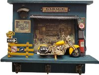 Vintage Harley Motorcycle Shadow Box on Wood Frame in 1:8 Scale by Old Modern Handicrafts