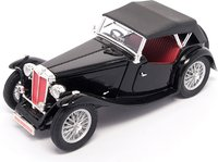 1947 MG TC Midget Convertible w/ Removable Bonnet black w.red in 1:18 scale by Road Signature Collection
