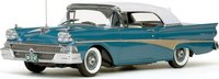 1958 Ford Fairlane 500 Closed Convertible-White/Silverstone Blue Diecast Model Car in 1:18 Scale by Sun Star