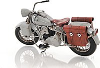 1942 Indian Model 741 Grey Motorcycle 1:12 Scale by Old Modern Handicrafts
