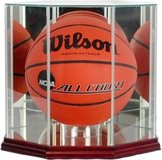 Octagon Basketball Display Case WOOD BASE WITH MIRRORED GLASS TOP