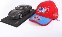 Ferrari Roma Grigio Silverstone with Display Case and hat in 1:18 scale by BBR