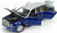 Bentley Mulsanne Grand Limousine Silver frost/Moroccan Blue Diecast in 1:18 Scale by Almost Real