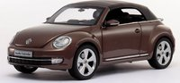 VOLKSWAGEN 2013 NEW BEETLE CABRIOLET in TOFFEE BROWN METALLIC Diecast Model Car in 1:18 Scale by Kyosho