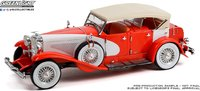 Duesenberg II SJ in Red and White Top-Up in 1:18 scale by Greenlight
