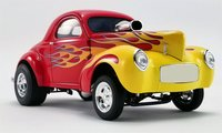 1941 Gasser in Red with Flames Diecast Model by Acme in 1:18 Scale