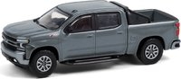 2020 Chevrolet Silverado RST with Off-Road Steps and Sport Bar in Satin Steel Metallic in 1:64 scale by Greenlight