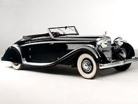 1935 Hispano Suiza K6 Brandone Cabriolet in Black Resin Model Car in 1:43 Scale by Illario