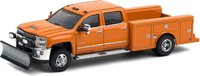2018 Chevrolet Silverado 3500HD Service Bed in Orange with Snow Plow in 1:64 scale by Greenlight