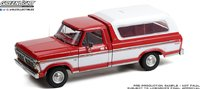 1975 FORD F-100 CANDY APPLE RED WITH WIMBLEDON WHITE in 1:18 scale by Greenlight