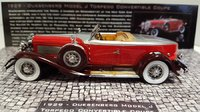 1929 Duesenberg Model J Torpedo Convertible Coupe Boat Tail in Two Tone Red And Aluminum Accent Resin Model in 1:43 Scale by Minichamps
