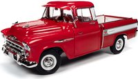 1957 CHEVROLET CAMEO PICKUP red in 1:18 scale by Auto World