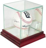 Single Baseball Display Case wood and class with mirrored bacl