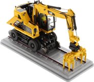 Cat® M323F Railroad Wheeled Excavator Safety Yellow Version in 1:50 scale by Diecast Masters