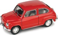 1965 Fiat 600D Berlina in Red Model Car in 1:43 Scale by Brumm