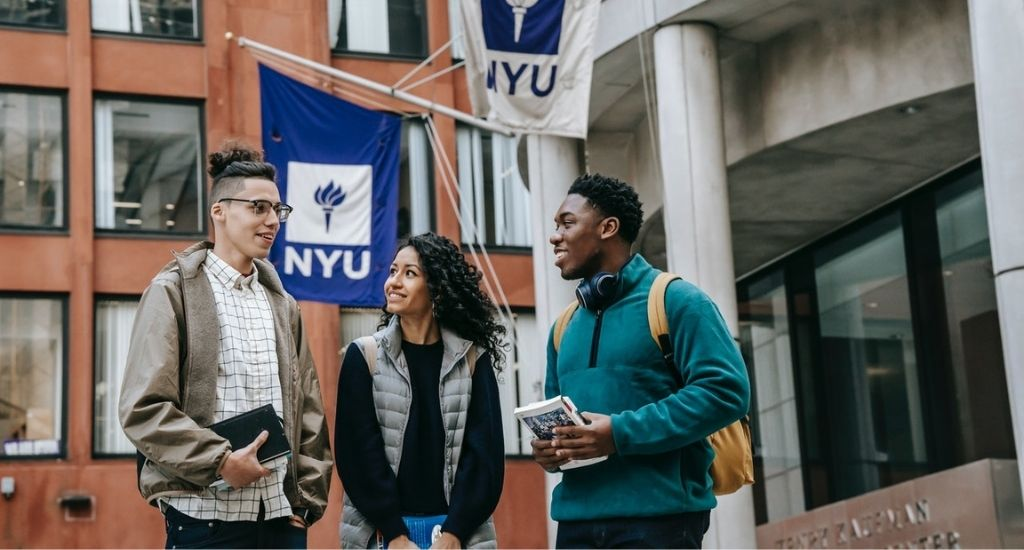 NYU students discussing starting a business in college