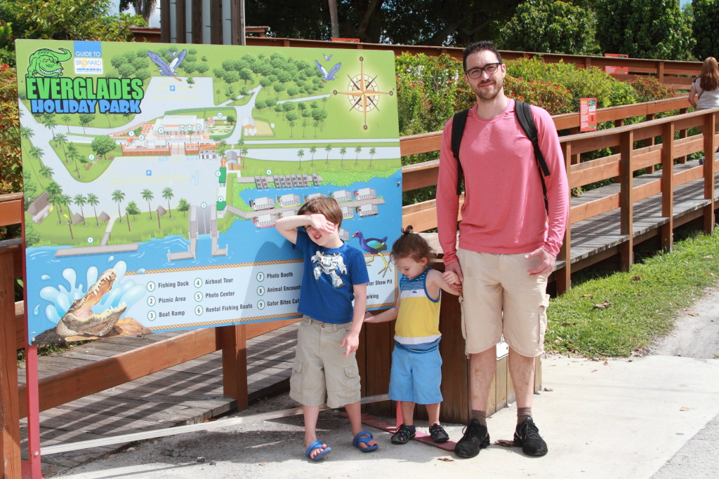 family standing in front of Everglades Holiday Park