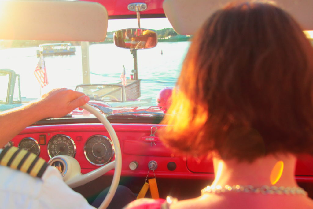 woman sitting in amphicar