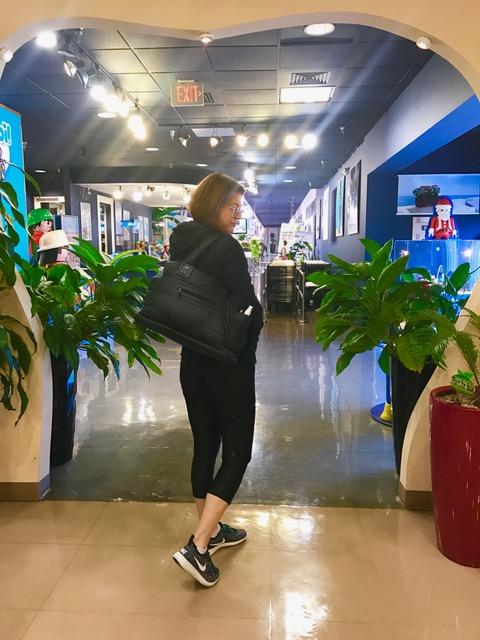 me wearing bag