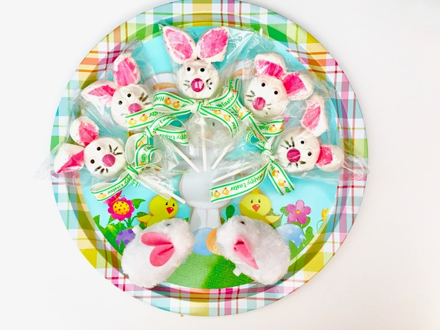 easter bunny pops on a plate