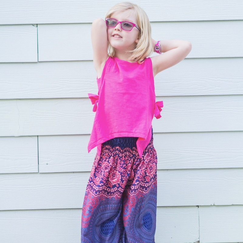 these pink and purple girls harem pants are so cute and lightweight and easy to slip on
