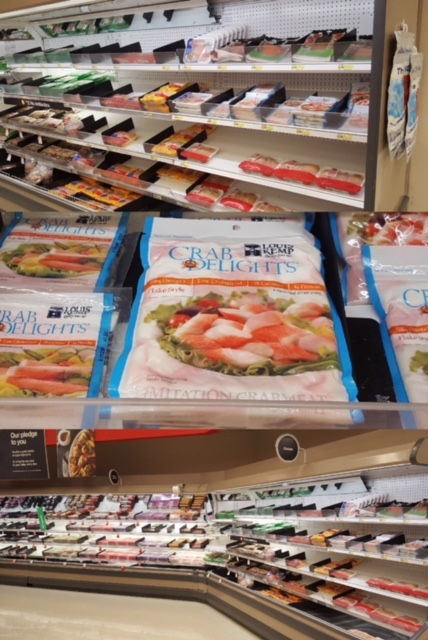 crab delights packaged in grocery store