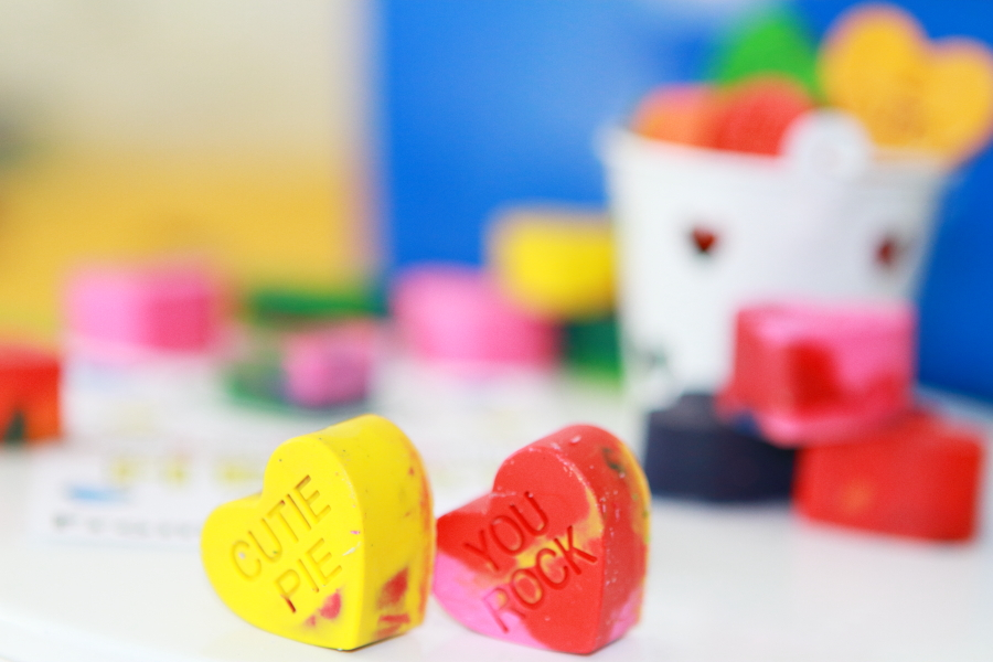 yellow cutie pie recycled crayon conversation starter heart and you rock red recycled crayon conversation starter