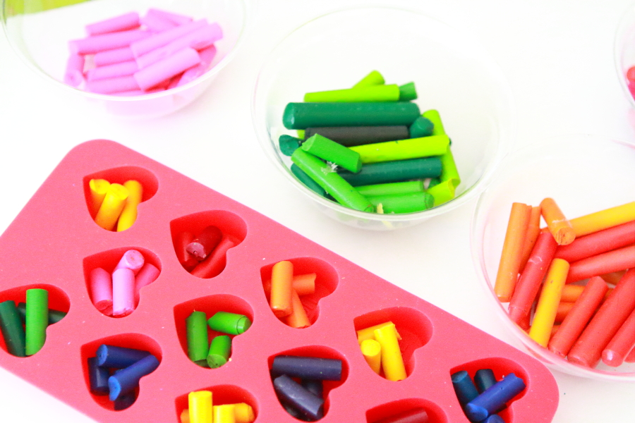 silicone heart mold filled with different color broken crayons