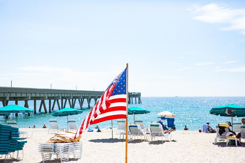 American flag on Deerfield Beach
