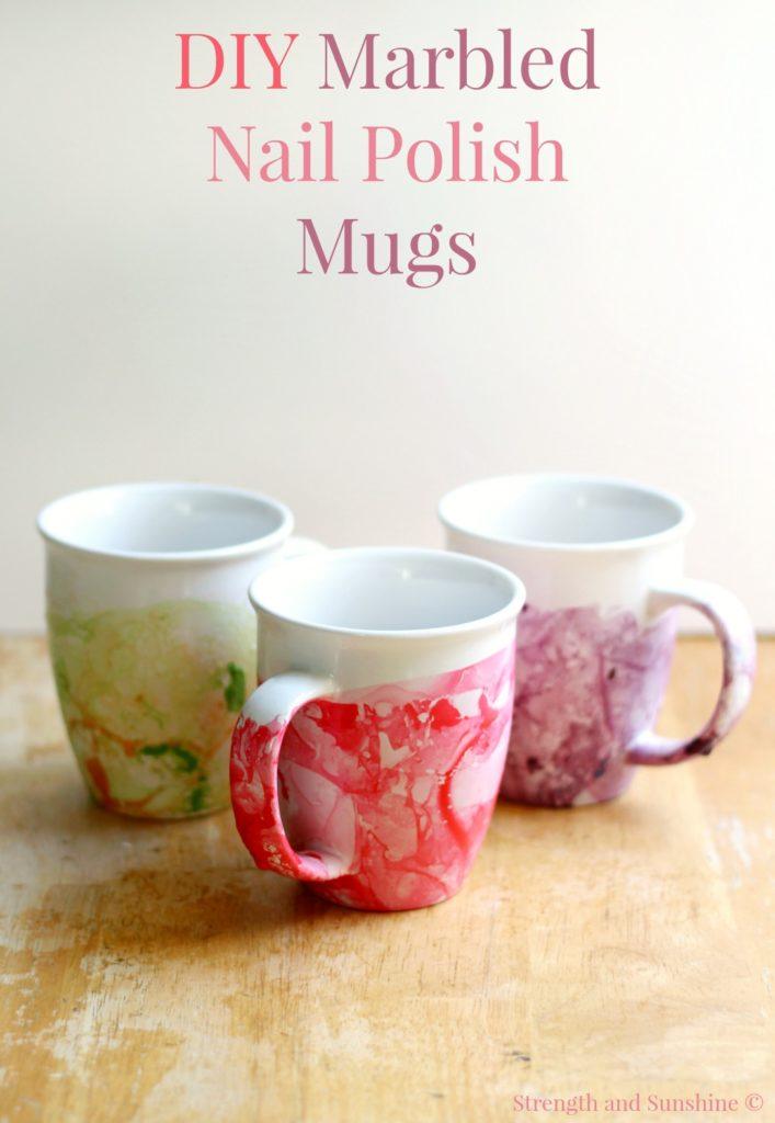 3 diy marbled nail polish mugs