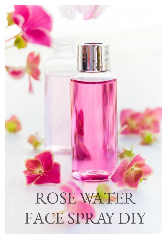 Rose water face spray with flowers