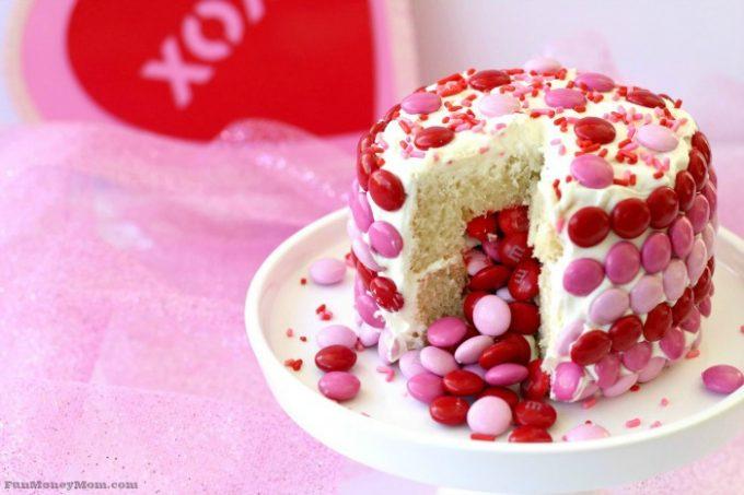 Fun Mini Valentine Cake with Candy Suprise