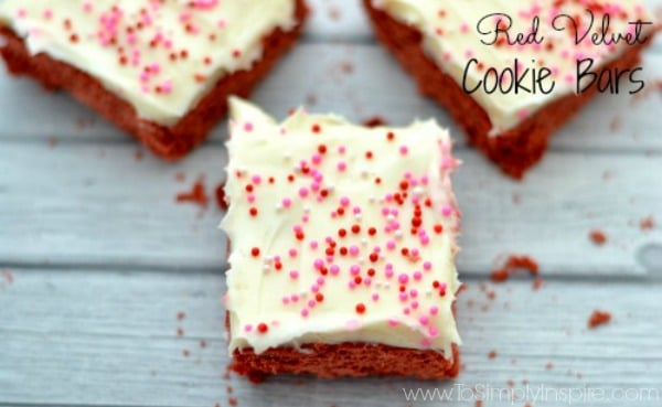 Red Velvet Cookie Bars with Cream Cheese Frosting