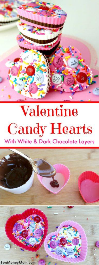 Valentine Candy Hearts With White & Dark Chocolate Layers