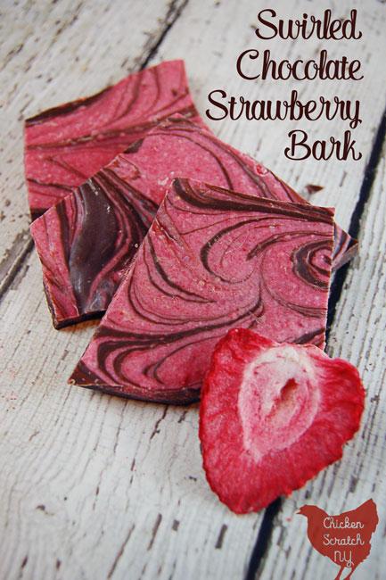 Swirled Chocolate Strawberry Bark
