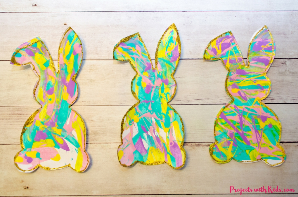 Process Art Scrape Painting with Bunny Silhouettes | Projects with Kids
