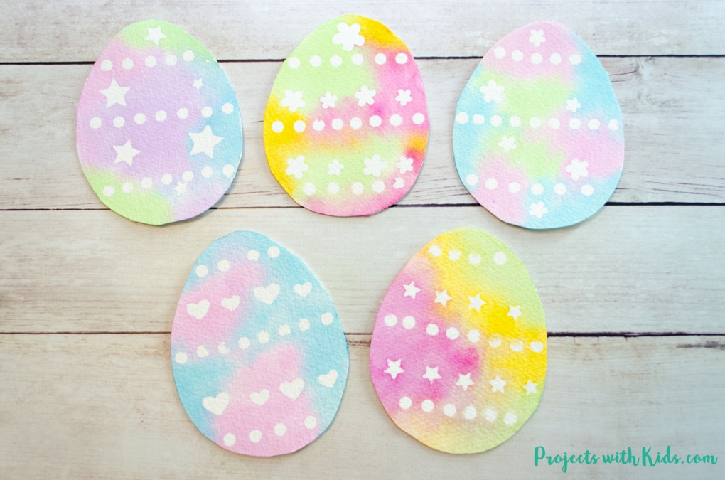 Create Simple Watercolor Easter Egg Art with Stickers | Projects with Kids