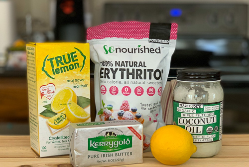 Ingredients for the keto lemon cheesecake fast bomb recipe