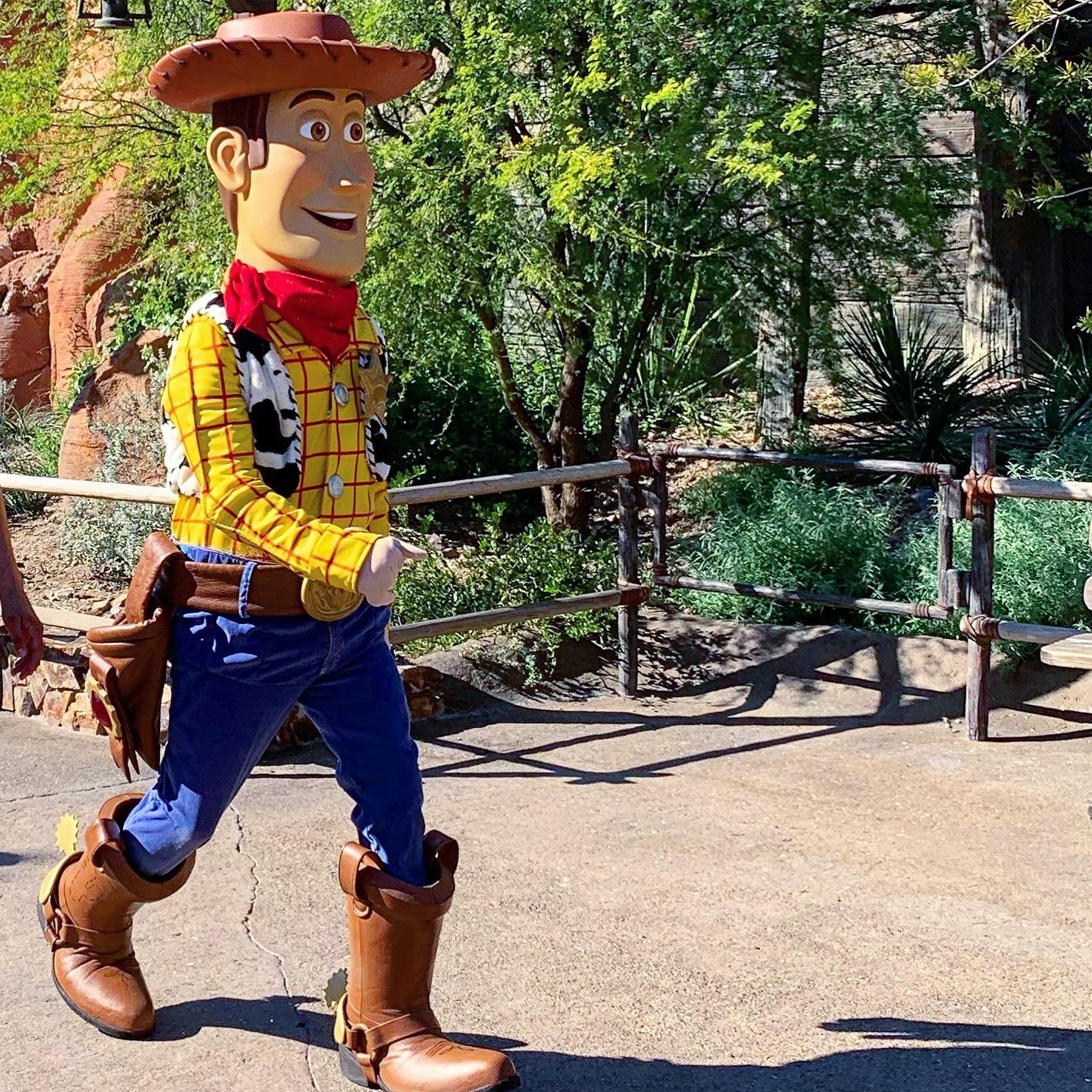 Woody walking on the streets of Disneyland Anaheim California