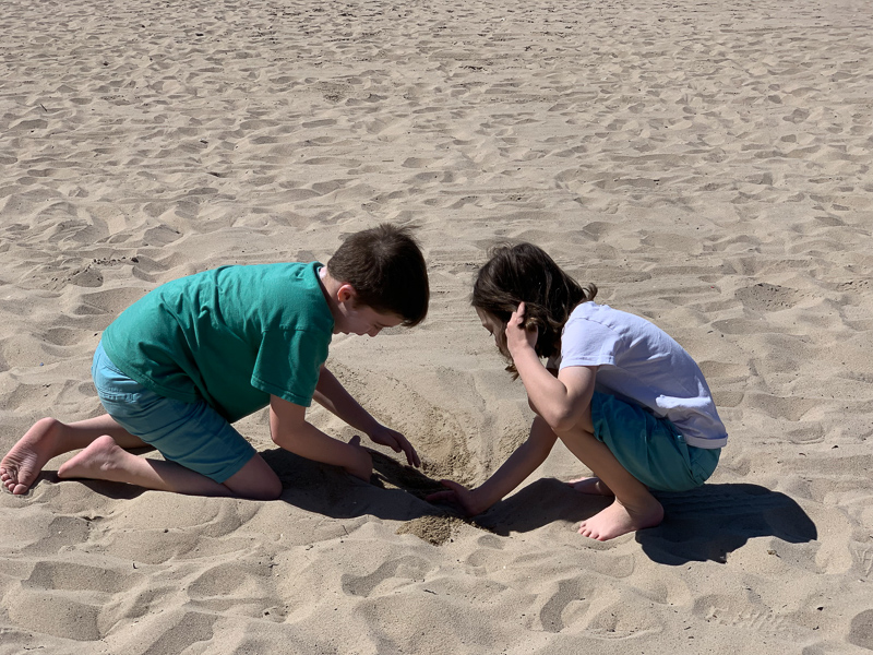 Kids at the beach digging in the sand at Huntington Beach
