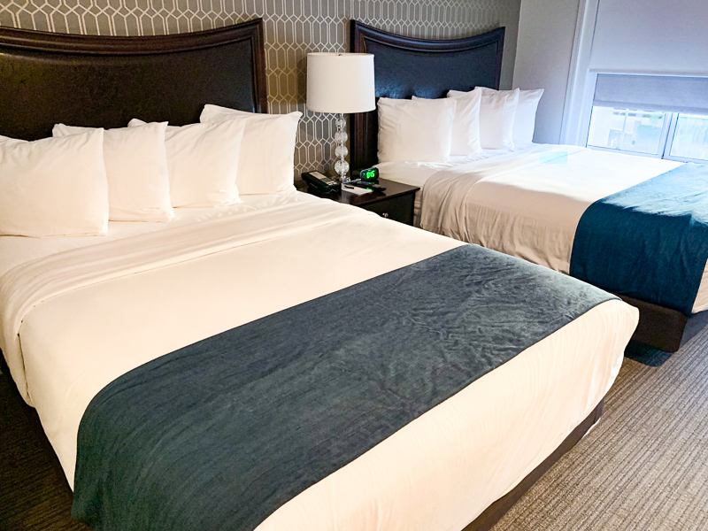 Two Queen Size Beds Inside The Peacock Suites Anaheim California