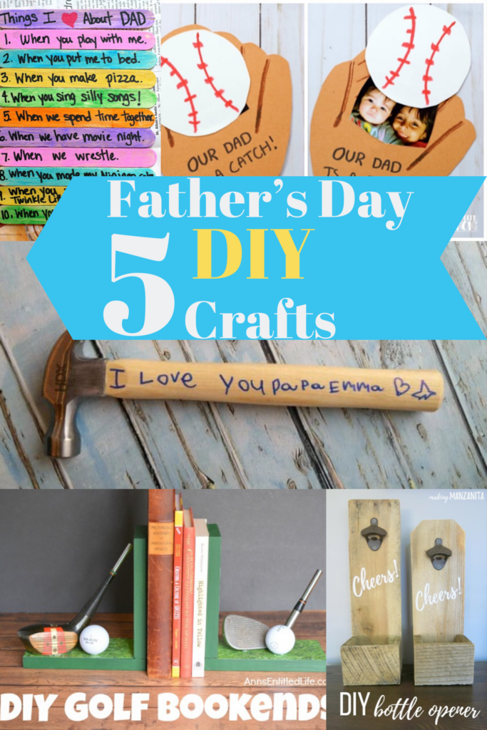 Here are 5 DIY crafts to make Father's Day extra special with personalized father's day projects like baseball mits and golf bookends .