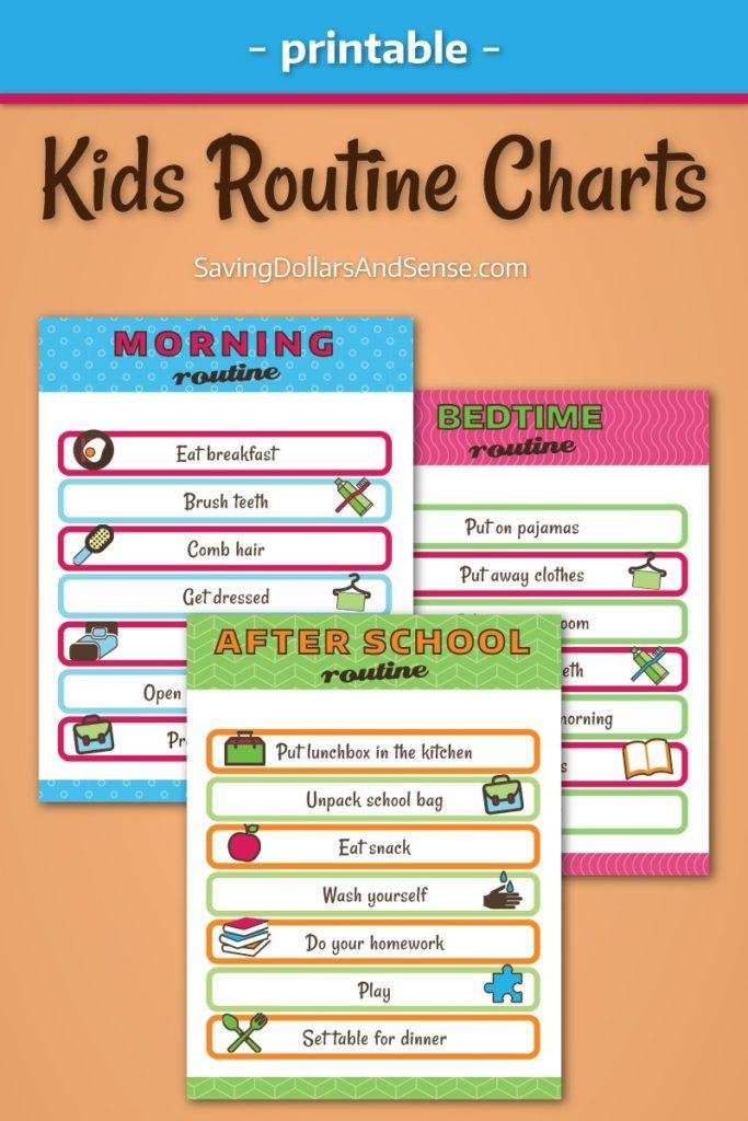 printable of kids Routine charts